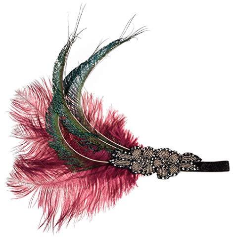 Charmstep Damen 1920s Stirnband, Gatsby Kostüm Accessoires 20er Jahre Flapper Feder ()