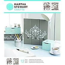 Martha Stewart - Plantilla de estarcido (tamaño mediano), diseño de esquinas, marcos y cenefas florales