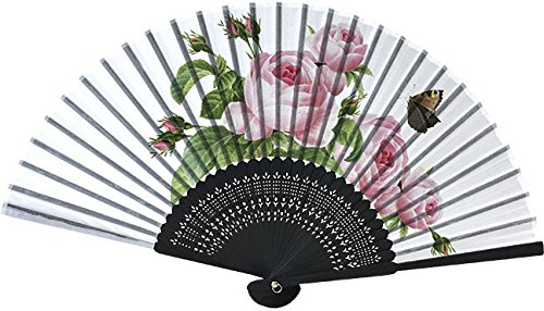 Home Collection Abanico Plegable Abanico de Mano con motivos florales ROSA CENTIFOLIA Largo plegado 21 cm Ancho abierto 38 cm