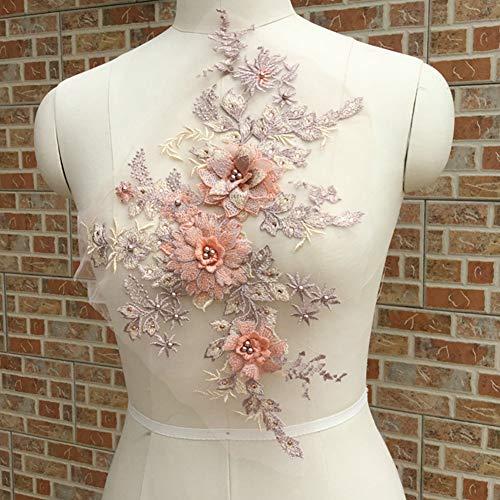 LNIMIKIY Spitzenapplikation Frauen Kleid DIY Hochzeit Tüll Blumen 3D Stickerei Brautschmuck Elegant Bühnen-Kostüm-Teil Perlen (Orange) (Diy Tüll Blumen)