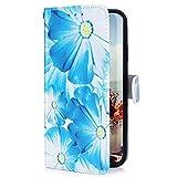 Uposao Kompatibel mit LG G8 ThinQ Hülle mit Bunt Muster Motiv Brieftasche Handyhülle Leder Schutzhülle Klappbar Wallet Tasche Flip Case Ständer Ledertasche Magnet,Blau Blumen