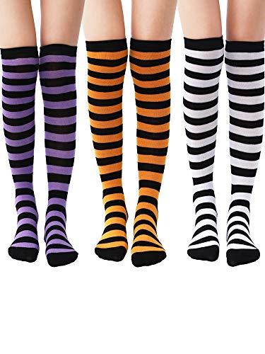 3 Paar Kniestrümpfe Knie Oberschenkel Hohe Strumpf für Damen Mädchen Halloween Geburtstagsparty (Farbe Set 1)