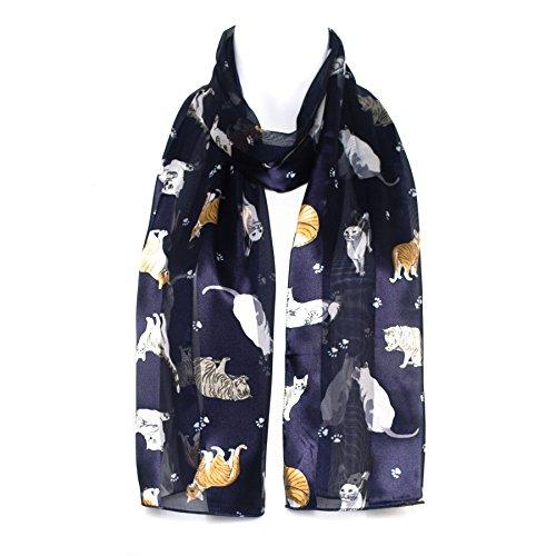 cat-breed-paw-print-navy-blue-chiffon-satin-ladies-womens-scarf-shawl-wrap