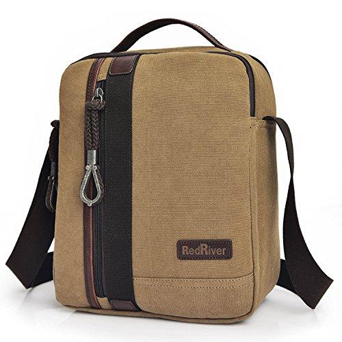 Outreo Vintage Borsa a Tracolla Uomo Borsetta Borse a Spalla Tela Scuola Messenger Bag Sacchetto Borsello per Sport Tasca Viaggio Tasche Beige
