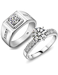 RM Jewellers CZ 92.5 Sterling Silver American Diamond Princess Couple Band For Men And Women