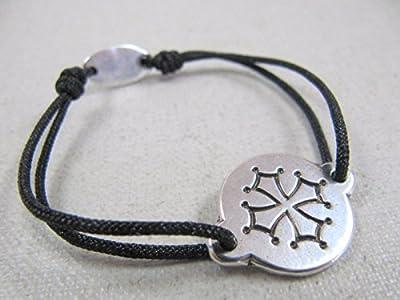 """Bracelet réglable cordon tressé""""Croix Occitane"""" 16mm finition argent 925"""