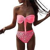 Damen Bikini Set Sonnena Hot Beachwear Pailletten Damen Push Up Bikini-Set von Baden von Chiffon mit Diamant Pink/Gelb/Weiß/Himmelblau Gepolsterte BH + Bikinihose Zweiteilig (S, rosa)