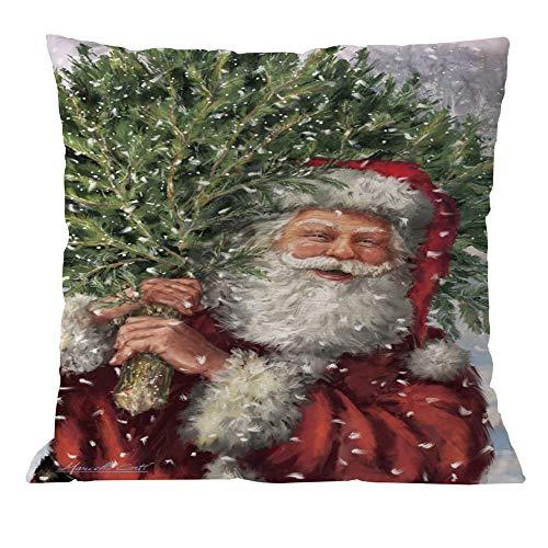 Longra Weihnachten Kissenbezug 45x45cm Kissenhülle Weihnachtsmann, Santa Weihnachten Geschenk, Schneemann, Weihnachtsbaum Winter Soft Touch Sofakissen Dekokissen Kopfkissenbezug für Sofa Auto Home (D)