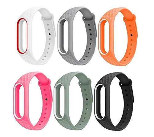 J Replacement Polygon Pattern Design TPU Strap for Xiaomi MI Band 2 & Mi Band HRX (Plus Screen Guard) Tracker Not Included…