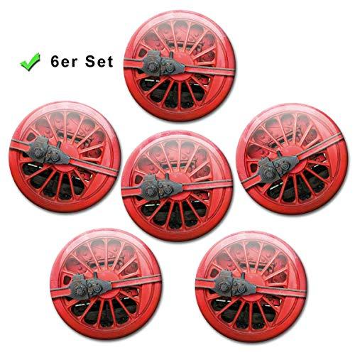 Kühlschrankmagnete Eisenbahn Räder 6er Geschenk Set Magnete Dampflok Rad für Magnettafel stark groß Ø 50 mm Rot (Rädern Magnet Auf)