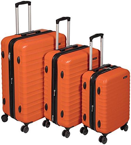 AmazonBasics Valise rigide à roulettes pivotantes,  Lot de 3valises (56 cm, 69 cm, 79 cm), Orange brûlé