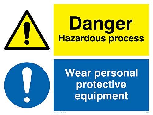 Viking segni cn652-a3l-3m pericolo pericoloso processo, indossare dispositivi di protezione individuale Sign, 3mm, 400mm altezza x 300mm larghezza rigido in plastica