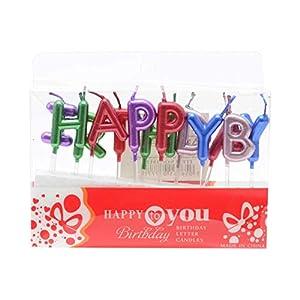Gifts 4 All Occasions Limited SHATCHI-1080 RGRP - Velas para tarta de cumpleaños, diseño de letras del alfabeto, multicolor