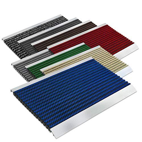 Floordirekt PRO Repräsentative Fußmatte Profi Brush - Testurteil Sehr Gut - Schmutzfangmatte mit Alu Rahmen für außen und innen - Verschiedene Bürsten Farben und Größen (40x60cm Blau)