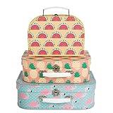 Lot de 3 boîtes de rangement sous forme de valise, style tropical ou avec flamants...