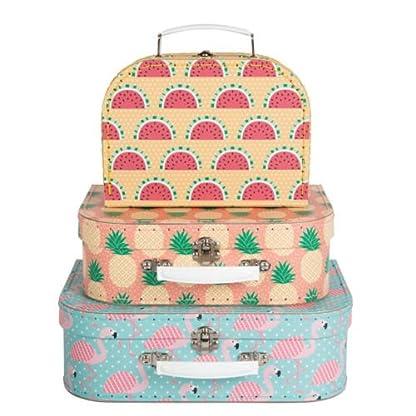 Koffer-Kofferset-Tropical-Summer-Flamingo-Ananas-Melone