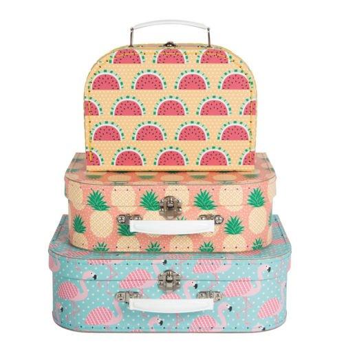 Lot de 3 boîtes de rangement sous forme de valise, style tropical ou avec flamants roses