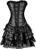 TDOLAH Gothic Korsage Kleid Mini Rock Petticoat Bustier Top mit Tutu-Rock (EUR 44-46/4XL, 630 schwarz)