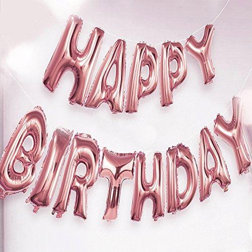 Funpa Geburtstag Ballon, Happy Birthday Banner Geburtstag Dekoration Alphabet Ballon Alles Gute zum Geburtstag Ballon Aluminium Folie Brief Ballon für Geburtstag Party Dekoration und Zubehör