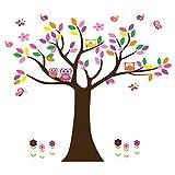 Wandtattoo Wandaufkleber Wandsticker Kinderzimmer mit Eulen Baum Blumen Schmetterlingen und Vögeln Wandbild für Mädchen oder Baby Zimmer. Wanddeko Wandtattoobaum.