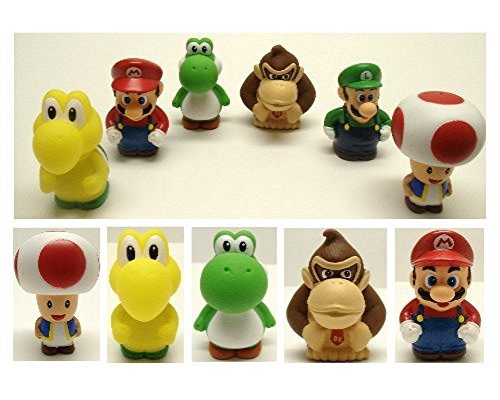 6 Piece Bath Play Set Featuring Mario, Luigi, Koopa Troopa, Yoshi, Donkey Kong, and Toad by Super Mario Brothers ()