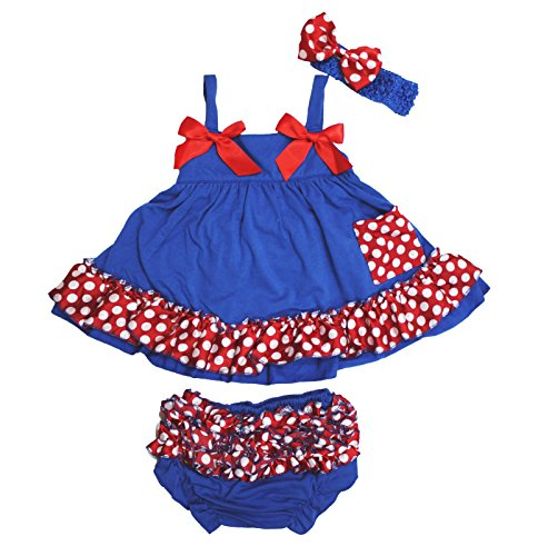Red White Polka Dot Swing Top Baby Girl Cloth Blue Bloomer Outfit Set Nb-24m (12-24 Monats) (Red Mädchen Blue-outfits White Und)
