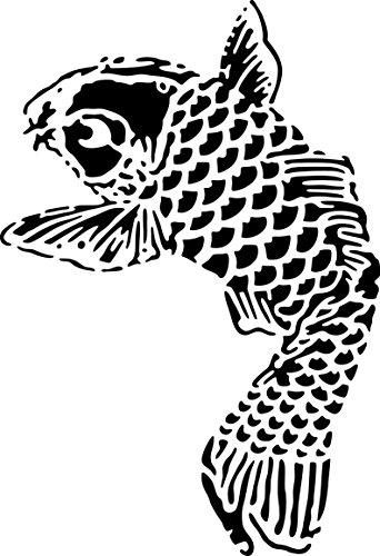 UNLIMITED STENCILS XL Airbrush Tattoo Schablone KOI, FISCH # 150 (Tattoos Temporäre Fisch Koi)