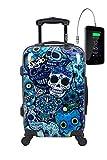 TOKYOTO - Maleta de Cabina Equipaje de Mano, Blue Skulls con Cargador USB, 8000mAh, 55x40x20 cm | Maleta Juvenil, Trolley de Viaje Ryanair, Easyjet | Maleta de Viaje Rígida Divertida Azul, Calaveras