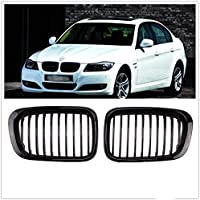 2X Front Replacement Matte Black Kidney Grille Grill For BMW 1998-2001 3 Series Sedan E46 320i 323i 325i 328i 330i 4D 4 Door by Heart Horse
