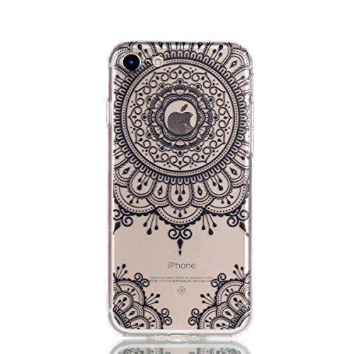 iphone 7 Plus Hülle,iphone 7 Plus Case,iphone 7 Plus Silikon Hülle [Kratzfeste, Scratch-Resistant], Cozy Hut iphone 7 Plus Hülle TPU Case Schutzhülle Silikon Crystal Kirstall Clear Case Durchsichtig,  Schwarze Totemblume