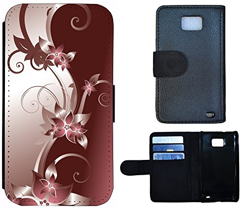 Coque Flip Cover Housse Etui Case Pour, Tissu Plastique Cuir, 1278 Abstract Braun, Apple iPhone 4 / 4s 1278 Abstract Braun