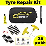 Car Motorbike Best Deals - CAR VAN MOTORCYCLE TYRE PUNCTURE REPAIR KIT TUBELESS EMERGENCY TIRE KIT WITH 20 STRIPS RUBBER GLUE FLAT