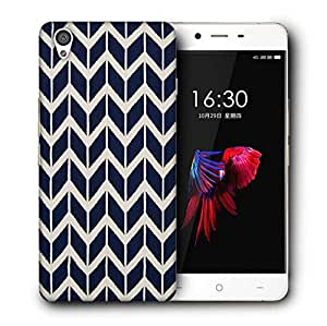 Snoogg navy white line waves 2502 Designer Protective Back Case Cover For OnePlus X