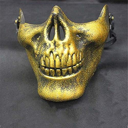 XuBa Cool Skull CS Full Face Mask Bike Motorrad Outdoor Game Sport Schutzkleidung für Halloween Party, Gold