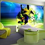 murando - Fototapete Fussball 150x105 cm - Vlies Tapete - Moderne Wanddeko - Design Tapete - Wandtapete - Wand Dekoration – Fußball Ziegel Graffiti Kindertapete Kinderzimmer Kinder i-C-0096-a-a