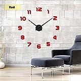 Moderno Marco múltiple grandes 3d DIY Reloj de pared Kit de decoración Home para salón dormitorio DIY Grandes Reloj de pared 3d Espejo Pegatinas Big Reloj de pulsera Home Decor regalo único., rojo