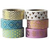 EDGEAM EDGEAM 6er Mehrfarbige Washi Tape Set mit goldene Mustern Dekoband Klebeband Papier Aufkleber Masking Tape DIY Scrapbooking, jede Rolle 15mm X 10M (Stil-G1)