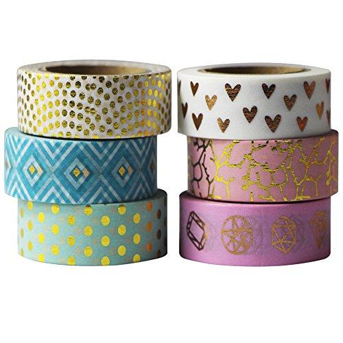EDGEAM 6 Rollos Color Washi Tape Set Cinta adhesiva dorado Modelo decorativa papel de bricolaje Álbum de recortes, cada rodillo de 15 mm x 10m (Stil-G1)