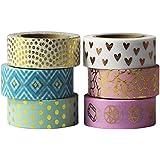 EDGEAM Lot de 6 Multicolore Ruban Adhésif Décoratif Bandes Washi Masking Tape Motifs d'or Bricolage Scrapbooking, chaque rouleau 15mm X 10M (Stil-G1)