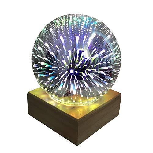 3D Lampe 3D Leuchte 3D LED Stimmungslicht. Night Lights Glas mit Holz Knopfschalter Mit USB-Schnittstelle Mit LED-Licht