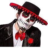 Wicked - Sombrero de Señor mexicano para Día de los Muertos para adulto, color negro
