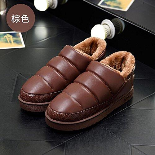 DogHaccd pantofole,Inverno paio di pantofole di cotone confezione con gli uomini e le donne calde scarpe indoor cotone impermeabile indossa spesso, antiscivolo scarpe di cotone Brown2