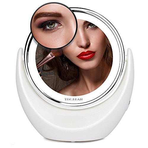 Espejo-para-maquillaje-con-7x-de-aumento-y-LED-con-mesa-giratoria-de-360--Acabado-cromado-con-brillantes-luces-LED-Espejo-cosmtico-inalmbrico-y-porttil-para-afeitar-maquillar-usar-hilo-dental-viajar-d