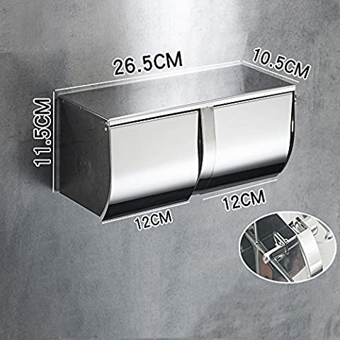 Paper Towel Rack 304 Stainless Steel Paper Towel Box With Ashtray Toilet Bed Paper Tray Toilet Waterproof Double Reel Holder,