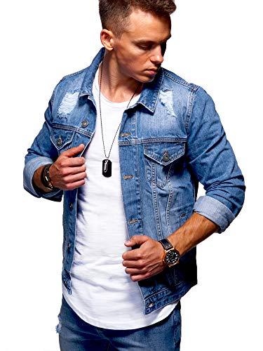 Herren-jeans-jacke-mantel (behype. Herren Jeans-Jacke Stretch Destroyed Übergangs-Jacke 55-0109 Mittelblau L)