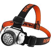 PATHFINDER 21 LED del faro del faro - resistente all'acqua. 4 modalità di funzionamento, Responsabile Sicurezza, lampada, luce istantanea, torcia per escursioni in bicicletta, arrampicata, mountain bike, campeggio, la lettura notturna. Angolo del fascio regolabile. 100.000 ore di durata del LED (in imballaggio al dettaglio) (argento)