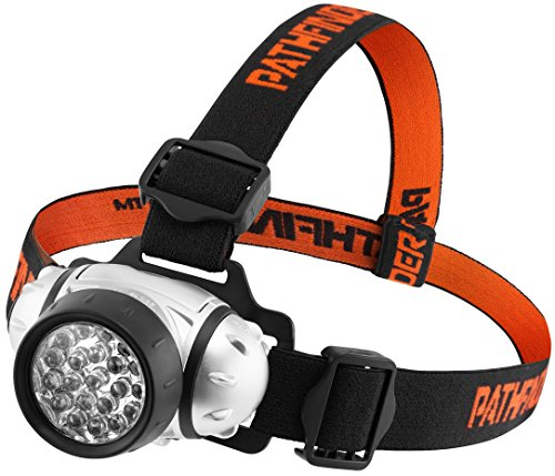 PATHFINDER 21 LED Headlamp Headlight – Lightweight, Comfortable and Weatherproof Flash Light/Torch – Water Resistant Safety Head Lamp - 4 User-Friendly Modes of Operation - Garage Workshop Garden Head lamp, Head Torch for Biking, Cycling, Climbing, Camping, Dog Walking, Hiking, Fishing, Night Reading, Riding, Running and other Outdoor and Indoor Activities - Adjustable Head Strap - 135 Degrees Adjustable Beam Angle - 100,000 Hours LED lifetime (in RETAIL PACKAGING) - SILVER
