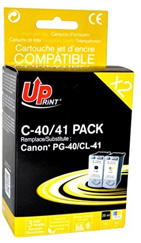 Pack de 2 cartouches compatible CANON PG40/CL41 - Noir + Cyan, Magenta, Jaune - marque : UPrint C-40/41 PACK - Imprimantes : PIXMA iP1020 / PIXMA iP1200 / PIXMA iP1300 / PIXMA iP1600 / PIXMA iP1700 / PIXMA iP1800 / PIXMA iP1900 / PIXMA iP2200 / PIXMA iP2500 / PIXMA iP2600 / PIXMA iP2750 / PIXMA MP140 / PIXMA MP150 / PIXMA MP160 / PIXMA MP170 / PIXMA MP180 / PIXMA MP190 / PIXMA