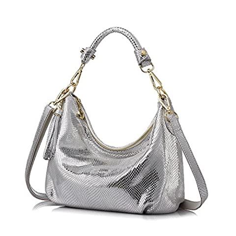 Realer Women Handbag Small Leather Hobos Messenger Bags with Tassels Silver