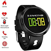 MXueei Smarte Uhren ZfgG Farbbildschirm Smart Watch OLED Rundscreen Touchscreen Schritt Herzfrequenz Blutdruck Ure Sauerstoff Informationen Push Watch Perfekter Wohnassistent